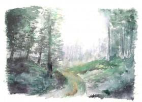 Forêt dans la brume - Aquarelle - 40 x 30 >>> 1996
