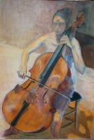 Le violoncelle - Pigments sur bois - 97 x 141