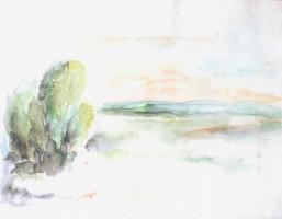Paysage  - Aquarelle - 32 x 41 >>> 1997